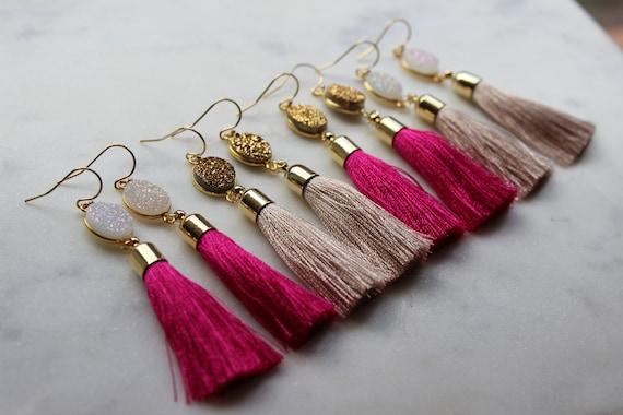 1909fff6a3b7c1 Druzy Earrings Tassel Earrings Pink Druzy Earrings | Etsy