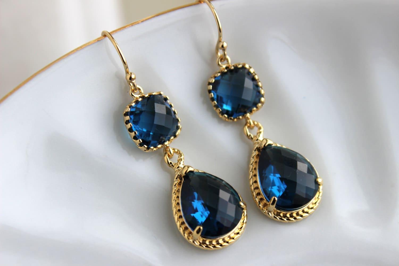Gold Sapphire Earrings Navy Blue Jewelry Teardrop Glass ...