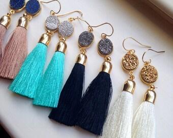Gold Tassel Earrings Druzy Jewelry, Gold Druzy Earrings, Tassel Jewelry, Statement Jewelry, Fringe Earrings, Statement Earrings Hero