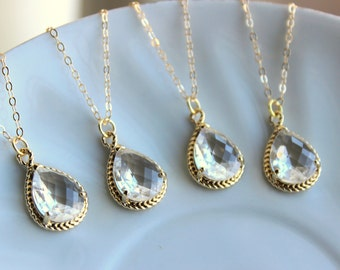 10% OFF SET OF 3 Crystal Clear Necklace Gold Wedding Jewelry - Set of 3 Necklaces Bridesmaid Gift Bridesmaid Jewelry Crystal Bridal Jewelry