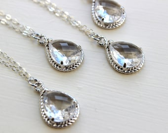 10% OFF SET OF 3 Crystal Clear Necklace Silver Wedding Jewelry - Set of 3 Necklaces Bridesmaid Gift Bridesmaid Jewelry Silver Bridal Jewelry