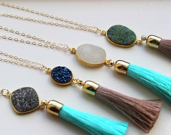 Gold Tassel Necklace, Druzy Necklace, Fringe Necklace, Tassel Jewelry, Drusy Necklace, Fringe Jewelry, Statement Necklace, Layering Necklace