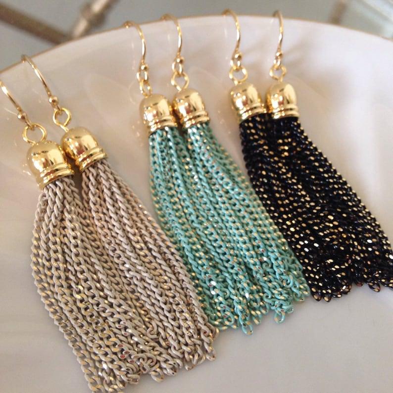 44b557c148027d Gold Tassel Earrings Gold Tassel Jewelry Turquoise Cream | Etsy