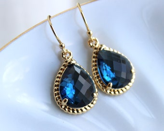Sapphire Earrings Navy Blue Teardrop Gold - Navy Bridesmaid Jewelry - Sapphire Bridesmaid Earrings - Gold Navy Wedding Jewelry