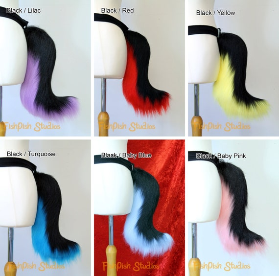 Fursuit accessory Great for kitty cat neko or festival Costumes Black and White or with Rainbow Small Wolf Fursuit Cosplay Tail