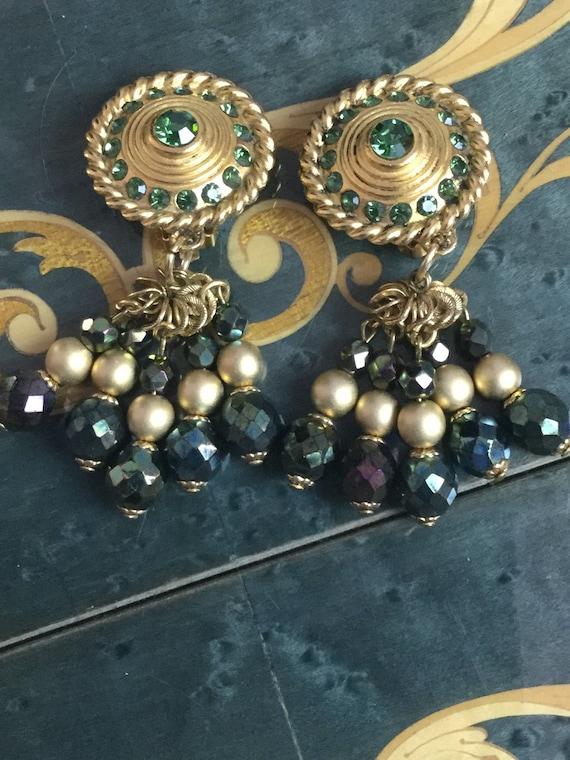 Vintage Claire Deve Earrings green rhinestones - image 2