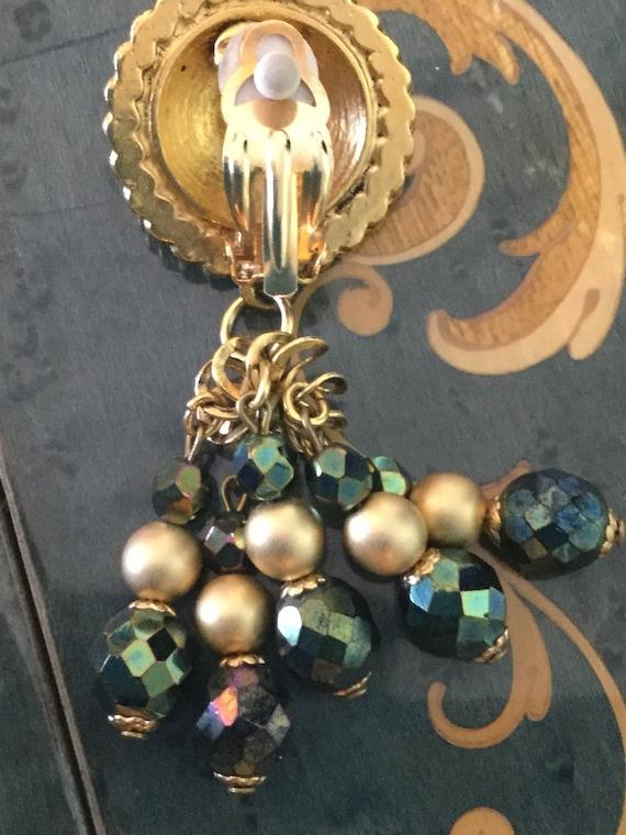 Vintage Claire Deve Earrings green rhinestones - image 3