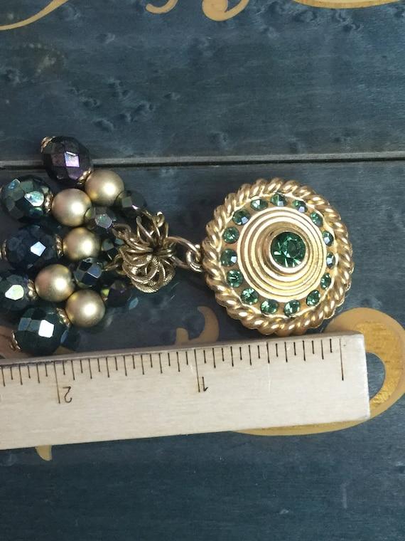 Vintage Claire Deve Earrings green rhinestones - image 4