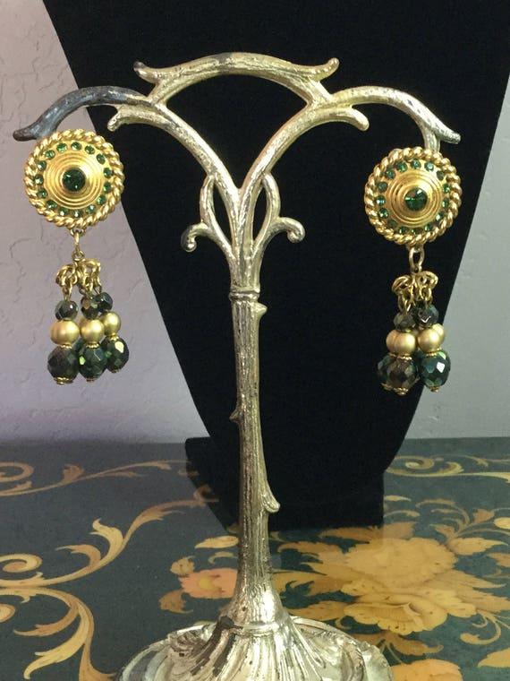 Vintage Claire Deve Earrings green rhinestones - image 1
