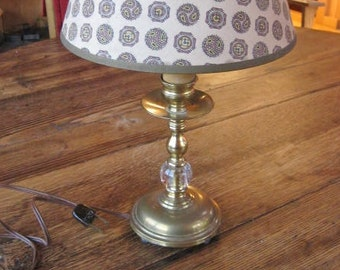Mid Century Brass Table Lamp w Controlled Bubble Glass Orb and Weighted Base #E1185