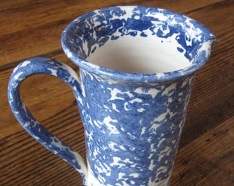 Shard Spongeware Hand Painted Tall Pitcher Cobalt White Pitcher Dover-Foxcroft ME