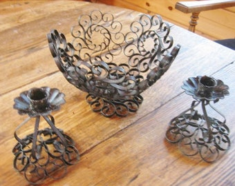 1950s Spanish Revival Scrolled Metal Filligree Centerpiece Pedestal Bowl & Candle Holders
