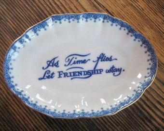 Mottahedeh Porcelain Verse Trinket Dish Ring Tray Blue White Colonial Williamsburg Collection