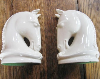 White Ceramic Horse Head Horsehead Bookends MId-Century 1950's