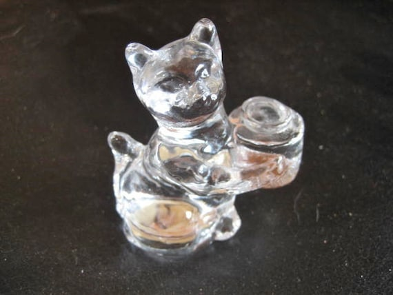 Clear Glass Sitting Cat Birthday Candle Holder Cake Topper