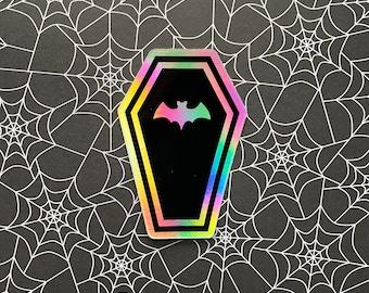 Bat Coffin hologram sticker - 2x3inch sticker / Vampire sticker / Spooky sticker