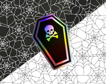 Skull Coffin hologram vinyl sticker - 2x3inch sticker / Death sticker / Spooky sticker