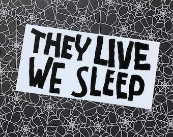 They Live We Sleep vinyl sticker - Cult film Bumper sticker or laptop sticker. Horror SciFi Movie, 80s film nostalgia. Wrestler Actor.