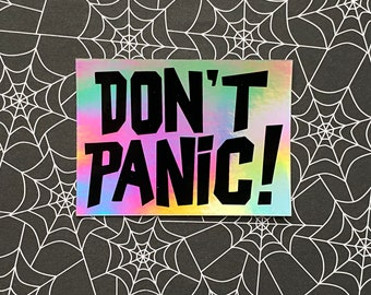 DON'T PANIC hologram vinyl sticker - Hitchhiker's Guide inspired Laptop decal / Classic Science Fiction