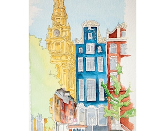 Signed Watercolor Print, Parisan View, 8.5x11 inches, Paris art, Watercolor painting, Urban Sketch, Architecture Painting, Wall Art