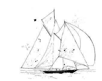 Full Sail - Ink Sketch, Ink Drawing, Pen and Ink, Black and White, Fine Art Print, Giclee, Original Art, Sea life, Sailboat Sketch