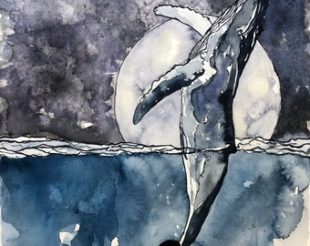 The Whale & the Moon, humpback whale, Art Print, Illustration, Watercolor, Mixed Media Giclee Art Print