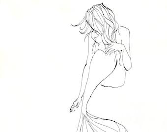 The Mermaid, Illustration, Ink Sketch, Giclee Art Print
