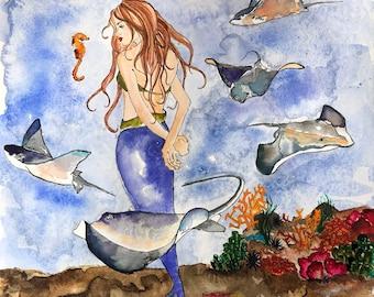 The Mermaid & the Sting Rays Art Print, Illustration, Watercolor, Mixed Media Giclee Art Print, Sea, Ocean, Seahorse