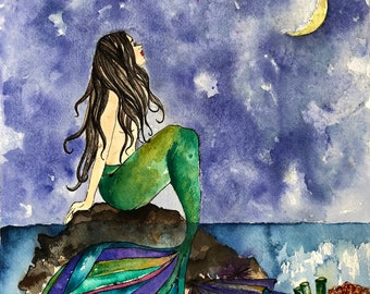 The Mermaid & the Night Art Print, Illustration, Watercolor, Mixed Media Giclee Art Print, Moon, Sea, Ocean