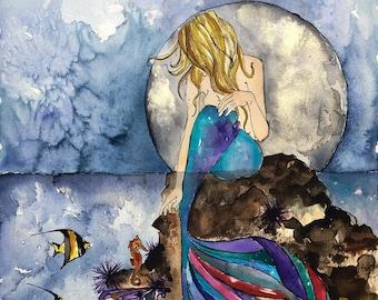 The Mermaid & the Seahorse Art Print, Reading, Illustration, Watercolor, Mixed Media Giclee Art Print