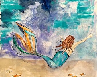 The Mermaid & the Stars, Art Print, Reading, Illustration, Watercolor, Mixed Media Giclee Art Print