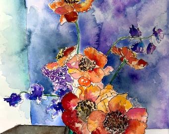 A Bouquet & Poppies - Original Watercolor Print, Fine Art Print, Giclee, Original Art, Floral Poppy Flower