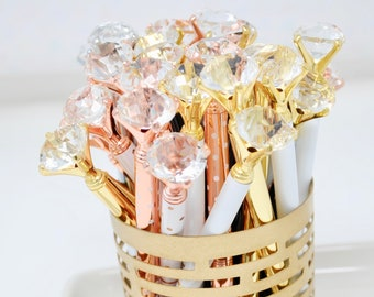 DIAMOND PENS | Crystal Diamond Gem Pen | Wedding Guest Book Pen | Planner Supplies | Bridesmaid Proposal Box Gift for Her | Party Favors