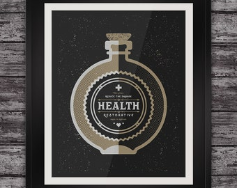 Health Restorative Art Print - Magic Potion Bottle -  Screenprint - Alternative Witchcraft Apothecary Gothic Kitchen Wall Home Decor Poster