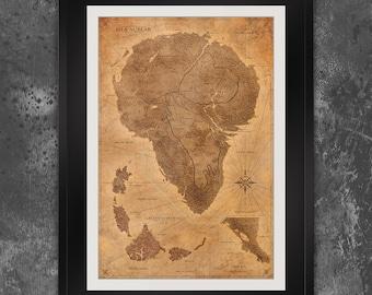 Jurassic Park Map Poster - Dinosaur Decor - Isla Nublar Map - The Lost World - Sepia Vintage Design - Frame not Included
