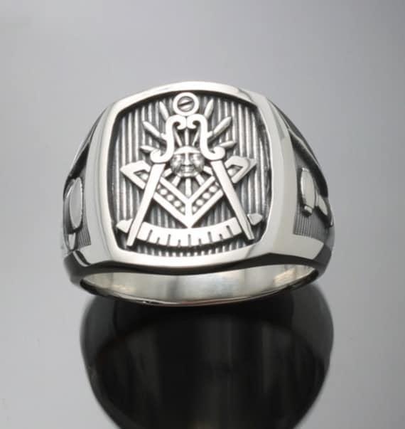 Vorbei an Master Freimaurer Ring aus Sterlingsilber mit oxidierten Finish ~ Stil 008O