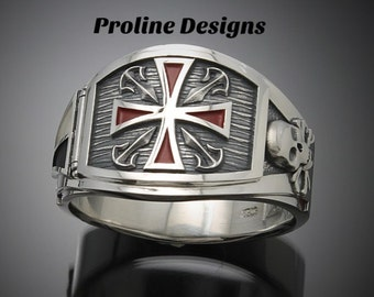 Knights Templar Masonic Ring in Sterling Silver ~ Cigar Band Style 028F