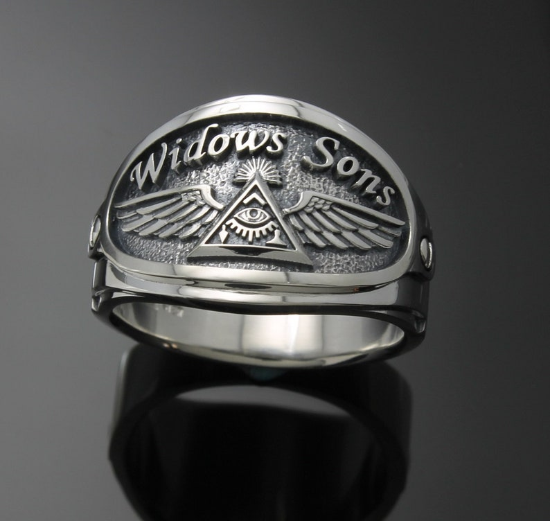 Widows Sons Masonic ring for Men in Sterling Silver ~ Cigar Band Style 061