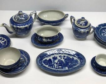 Blue Willow Childs tea set 21 piece