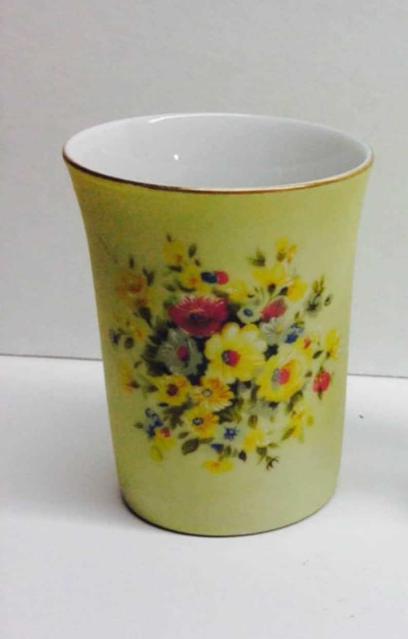Vintage Lefton China Bathroom Cup Yellow