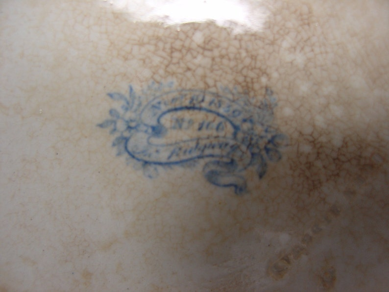 Antique Ridgway, John Ridgway, Antique Tureen, Blue Transferware, Tureen hexagonale