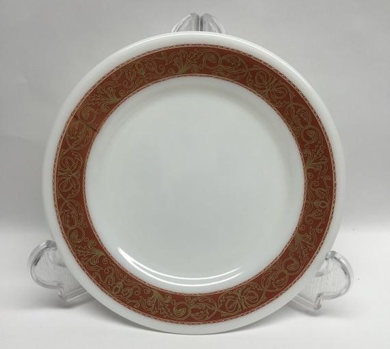 Verre de lait Pyrex salade assiette motif en Bronze