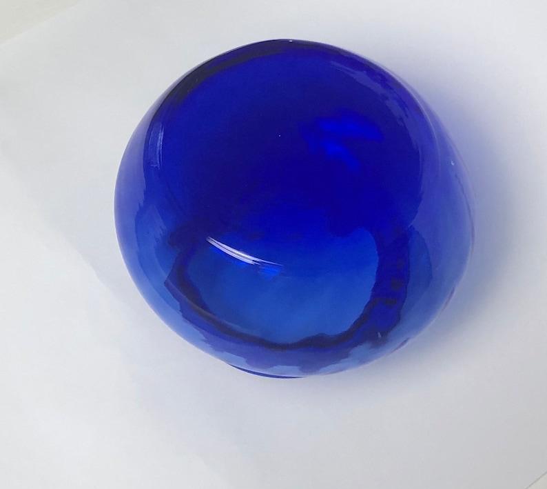 Vintage Cobalt Blue Glass Vase Swirl Design Large Mouth Glass Vase 4 inches Rare