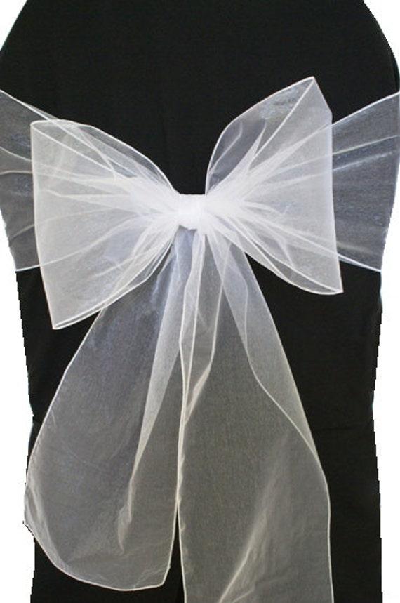 White Organza Chair Sashes Wedding Pew Bows Reception Etsy