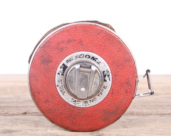 Vintage 100' Roe Comet Metal Tape Measure / Old Tape Measure / Antique Tools / Tool Decor / Steel Tape measure / Silver Metal Tape Measure