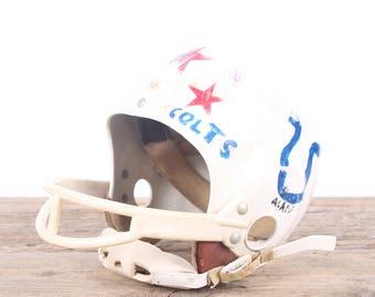 Vintage Football Helmet / Kids Colts Helmet / Football Decor / Red White Helmet / Game Room / Antique Football Helmet / Indianapolis Colts