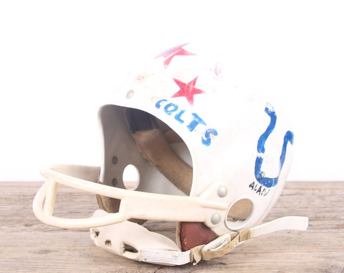 Featured listing image: Vintage Football Helmet / Kids Colts Helmet / Football Decor / Red White Helmet / Game Room / Antique Football Helmet / Indianapolis Colts