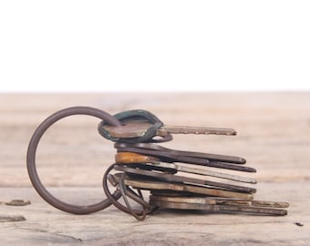 Vintage Keys / Antique Key Set / Rusted Keys / Old Keys / Antique Keys / Metal Display Prop Collectible / Home Office Decor