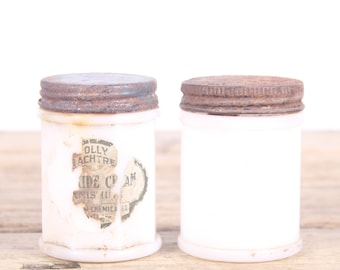 "Vintage Milk Glass Jars / 2 Cream Glass Vanity Jars / 2.75"" White Glass Jars / Shabby Chic Vanity Decor / Antique Jar / White Glass Jar"