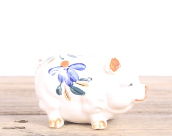 Vintage 1940's Japanese Piggy Bank / Occupied Japan Ceramic Piggy Bank / White Blue Orange Piggy Bank / Unique Decor